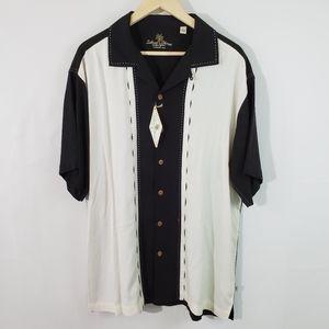 NWT Island Shore Men's 100% Silk Black/White Shirt